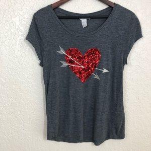 H&M Sequin Heart T-Shirt